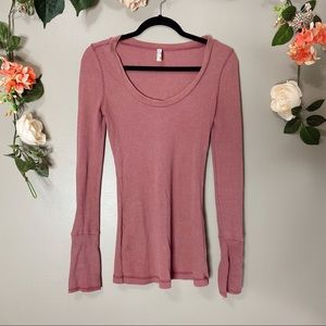Free People RARE moto cuff thermal dusty rose